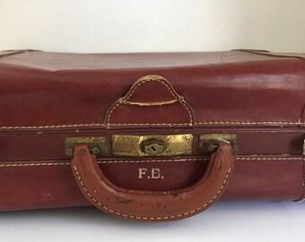 Vintage Brown Suitcase Luggage Initials RB