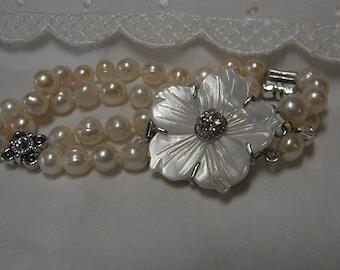 Genuine Cultured Baroque Freshwater White Pearl Two Strand Bracelet