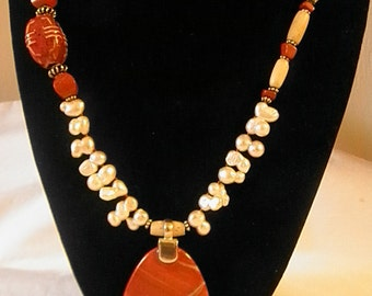 Beautiful Natural Red Jasper Asymatrical l Necklace