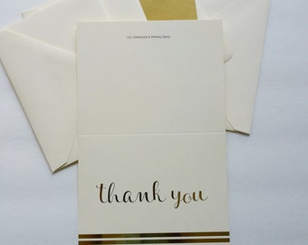 Gold Foil Thank You Note Card W/Stripes