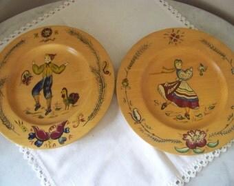 2 folk plates hand painted