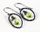 Peridot Earrings & Necklace, Oxidized Sterling Silver wire wrapped green gemstone, fine dangle earrings, gift for her, August birthstone