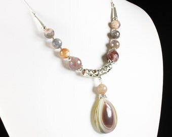 Grey-Brown Botswana Agate Necklace, Sterling Silver finish, statement necklace, fine necklace, stone pendant necklace, gift for her, NL2993