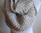 Knit infinity scarf, chunky knit scarf in Oatmeal, chunky knit cowl, circle scarf, knit eternity scarf, winter accessories