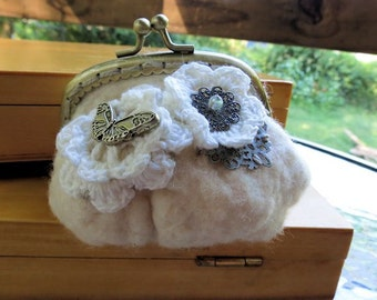White Crochet and Metal Felted Coin purse