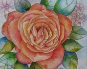 Original Rose Painting Best Wishes Watercolour Ink and Acrylic