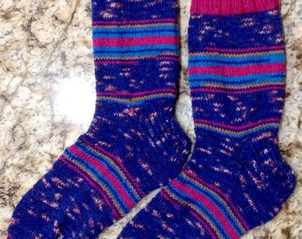 Hand Knit Mens or Womens Wool Socks - Regia Sock Yarn (S-175)