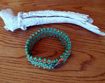 "Hand Made To Order 1"" Bead Crochet 9 1/2"" Fashion Dog Collar"