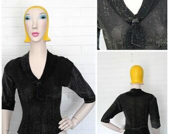 Vintage 1950s Lurex Blouse M