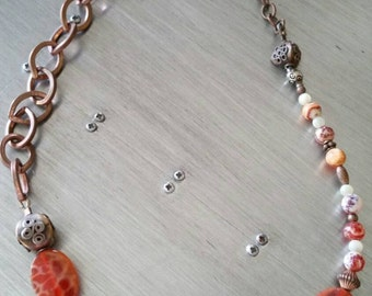 Copper and Spiderweb Agate Necklace