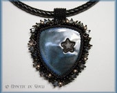 Blue bead embroidered necklace - Star necklace - Black necklace - Unique jewelry