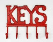 Red Key Hanger. Welcome Housewarming Gift. Mud Room Organization. Wrought Iron Key Rack. Realtor Closing Gift. Metal Leash Holder
