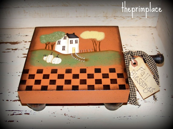 Primitive Hand Painted Cutting Block with Saltbox House, Pumpkins, and Fall Trees~Primitive Fall Decor~Primitive Home Decor~OOAK