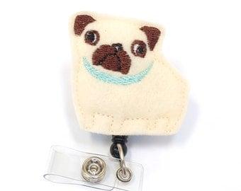 Fat Pug - Name Badge Holder - Cute Badge Reels - Unique Retractable ID Badge Holder - Felt Badge Reel - Peds RN Badge - BadgeBlooms