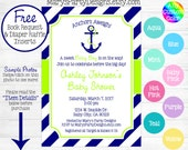 Nautical Baby Shower Invitation - Anchors Aweigh Away Lime Green Teal Mint Red Navy Stripes Girl Boy Diaper Raffle Ticket Book Request Card
