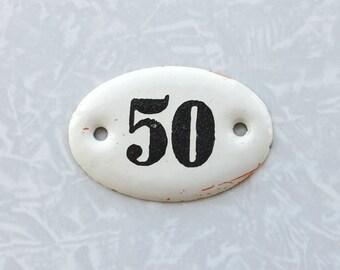 Vintage Sign 50, Enamel Number Sign, Small Oval Address Plaque, Numbered Tags,  Room Number