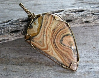 Picture Jasper Pendant, Antiqued Bronze, Wire Wrapped Jasper Necklace, Free form Gemstone Cabochon,  Gemstone Jewelry, READY To SHIP