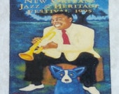 1995 Jazz Fest New Orleans Louis Armstrong Blue Dog Poster Coaster