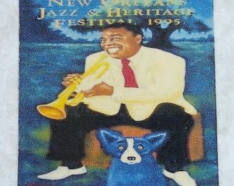1995 Jazz Fest New Orleans Louis Armstrong Blue Dog Coaster
