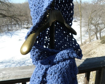 Blue Acrylic/Wool Crocheted Hooded Scarf