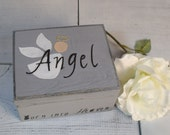 Loss of Baby Memory Box, Memorial Box, Box for Grief, Keepsake Box, Angel, Grey, Miscarriage, Born into Heaven, Gray, Neutral Colors RB/TR