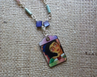 Mixed Media Pendant Necklace Heart in Hand Art Purple and Green Beads on Chain [102]