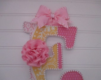 "BOW HOLDER hot pink, yellow swirls, Initial ""E"", silk pink rose, white pearl trim"