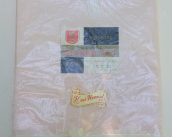 Vintage Pink Damask Tablecloth -- 64 by 84 inches -- and 8 Napkins, In Original Package