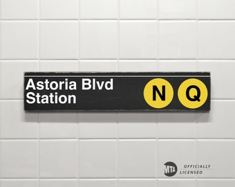 Astoria Blvd Station - New York City Subway Sign - Wood Sign