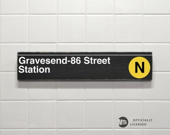 Gravesend-86 Street Station - New York City Subway Sign - Wood Sign