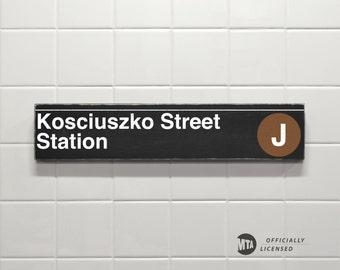 Kosciuszko Street Station - New York City Subway Sign - Wood Sign