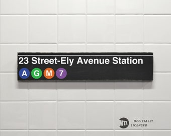 23 Ely-Avenue Station - New York City Subway Sign - Wood Sign
