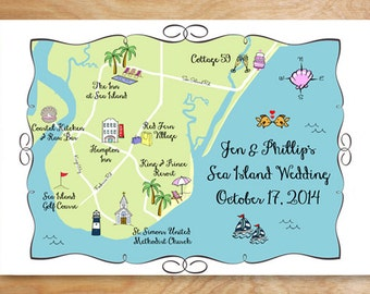 Custom Wedding Map Printable DIY, map of wedding ceremony and reception, wedding invitation map, invitation enclosure map, Sea Island