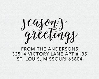Christmas Address Stamp, Return Address Stamp, Season's Greetings Stamp, Self Inking Address Stamp, Holiday Address Stamp (T280)