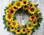 Sunflower Wreath, Yellow Wreath, Sunflower Décor, Country Cottage Wreath, Yellow Floral Wreath, Shabby Chic Wreath