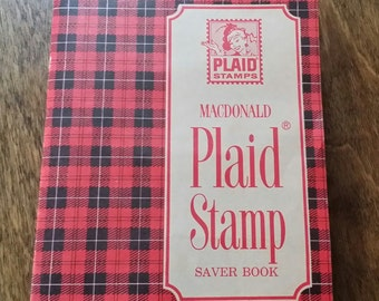 Vintage Macdonald Plaid Stamp Saver Book - Filled with Stamps