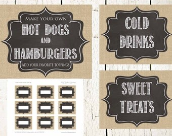 Burlap and Chalk BBQ Printables- INSTANT DOWNLOAD, bbq prints, Drink Tags, Chalkboard Drink Tags