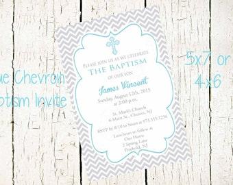 Chevron Baptism Invite, Boys Baptism Invitation, Christening Invitation,