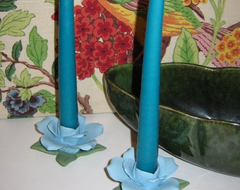 Pair of Vintage Blue Rose Candle Holders