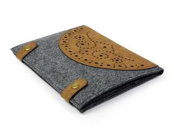 Felt iPad Sleeve iPad 1 2 3 4 Case iPad Cover iPad Mini case iPad Air sleeve Multi-functional pocket Custom Made Vintage Hole Punch E559