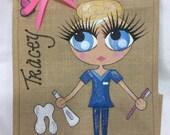 Handpainted Personalised Dental Nurse Jute Gift Bag Wedding Party Celebrity Style