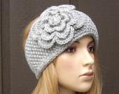 Knit Headband Head Wrap Ear Warmer Light Grey Gray with Crochet Flower Rhinestone Button