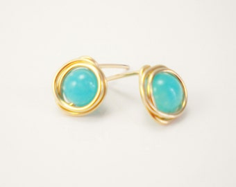 Turquoise Green and 14K Gold Filled Earrings / Wire Wrapped Jewelry / Summer / Simple Gold Jewelry