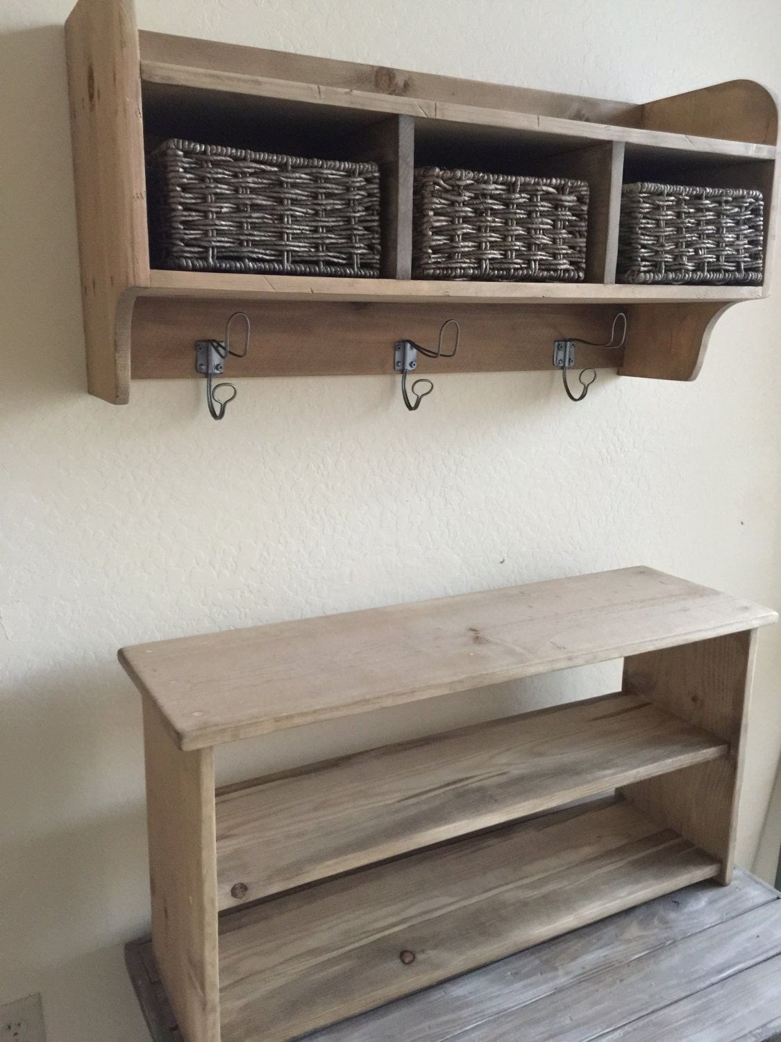 Rustic Hall Tree Primitive Bench And Coat Rack Entry Way