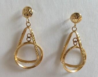 14K Solid Gold retro Geometrical 3D Dangle Earrings