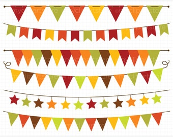 Bunting - Autumn / Fall Bunting Clipart - Thanksgiving Banner Flags Clip Art / Digital Clipart - Instant Download