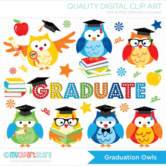 Clipart Graduation Owls / Primary Colors / Graduate