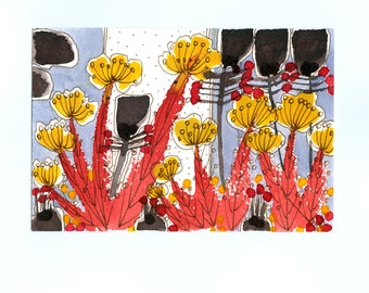 "Wall Art ,"" Wild Flowers  "" ,  Red Yellow And Brown"