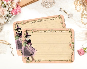 Witch Recipe Cards, Halloween Recipe Cards, Fairy Witch, Bridal Shower Recipe Cards, Spells, Bridal Shower or Hostess Gift, Set of 12