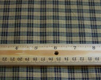 1 Yard Black and Mustard Plaid Homespun Cotton Fabric